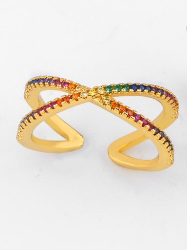 Copper With Cubic Zirconia Trendy Free size Rings