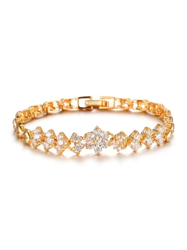 18K Gold Plated Zircon Flowery Women Bracelet