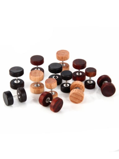 Wood with round simple fashion Dumbbell Stud Earrings