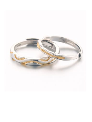 925 Sterling Silver With White Gold Plated Simplistic wave Lovers Free Size  Rings