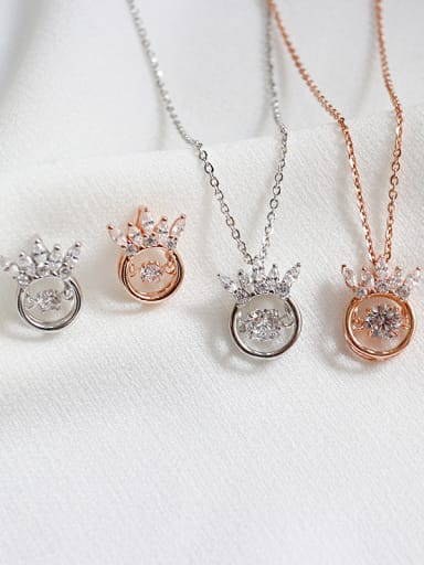 925 Sterling Silver With Cubic Zirconia Classic Crown 2 Piece Jewelry Set