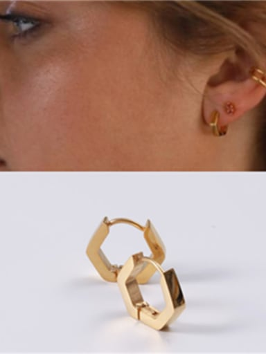 Titanium With Gold Plated Simplistic Smooth  Geometric Clip On Earrings
