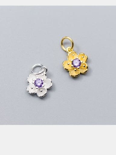 925 Sterling Silver With Silver Plated Five petals Charms