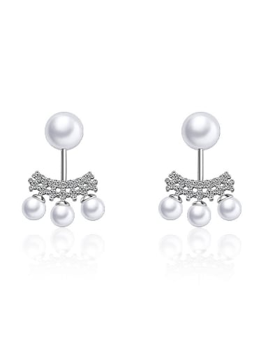 Personalized Imitation Pearls Cubic Zirconias Copper Stud Earrings