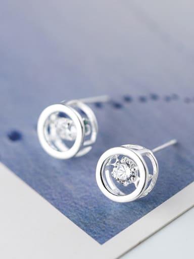 Women Personality Round Shaped Zircon Stud Earrings