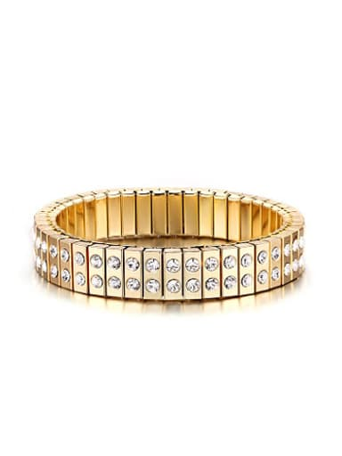 Fashion Gold Plated Double Layer Rhinestone Titanium Bangle