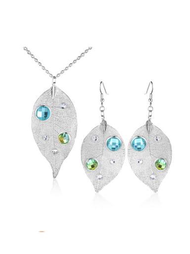 Fresh Leaf Shaped Rhinestone Two Pieces Jewelry Set