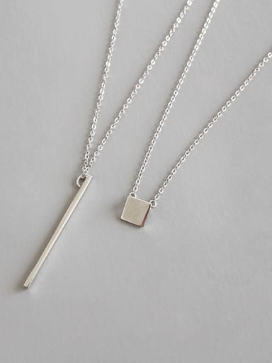 Sterling Silver geometric square Long Necklace