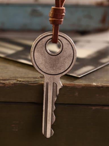 Retro Key Shaped Cownhide Leather Necklace