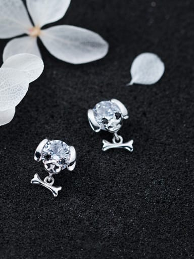Lovely Dog Shaped Shining Rhinestone S925 Silver Stud Earrings