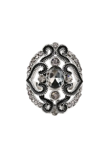 Retro style Hollow Glass stone Alloy Ring
