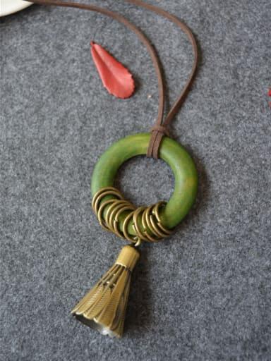 Wooden Round Shaped Tassel Necklace