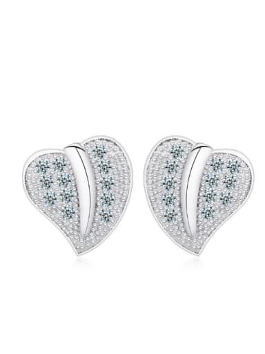 Leaves Creative Women Stud Earrings with Zircons