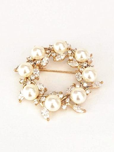 Fashion Artificial Pearls Marquise Zirconias Copper Brooch