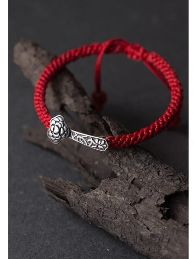 925 Sterling Silver With Antique Silver Plated and Ruyi  red rope Woven & Braided Bracelets