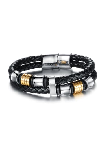 Titanium Woven Artificial Leather Men Bracelet