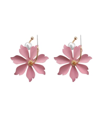 Alloy With Champagne Gold Plated Fashion Flower Hook Earrings