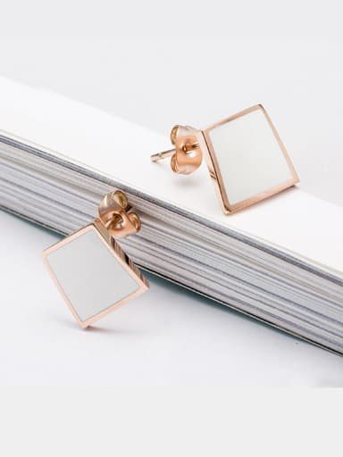 Simple Female Titanium 18K Rose Gold  Shell Square drop earring