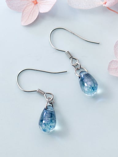 Pure silver fashion blue drop drop eardrop