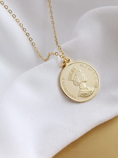 Sterling Silver Elizabeth coin gilded Pendant Necklace
