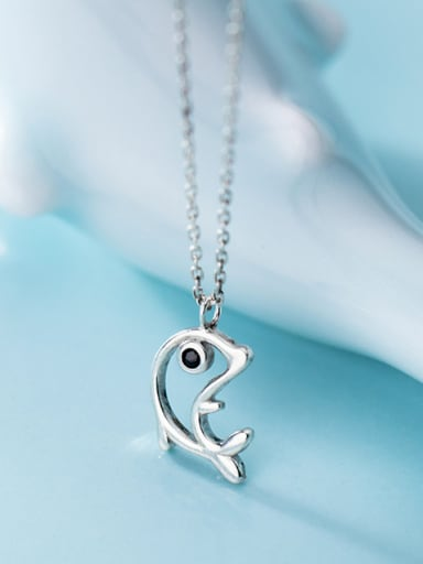 925 Sterling Silver With Platinum Plated Simplistic Dolphin Necklaces