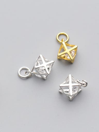 925 Sterling Silver With Gold Plated Trendy Geometric Charms