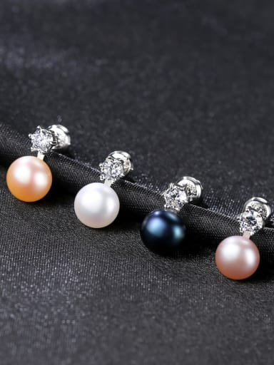 Sterling silver small simple natural pearl earrings