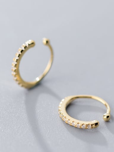 925 Sterling Silver With 18k Gold Plated Delicate Round Ear clip