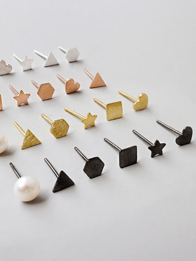 Sterling Silver six piece asymmetric Mini Stud Earrings (multiple shapes four colors optional)