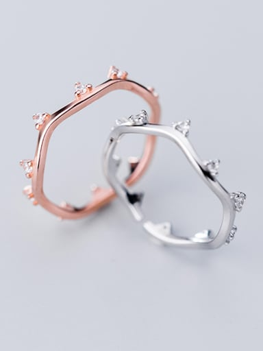 925 Sterling Silver With Cubic Zirconia Simplistic Irregular wave  Band Rings