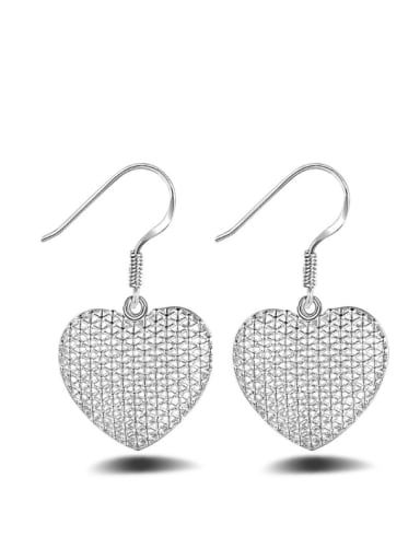 Heart-shape Noble White Gold Plated Drop Earrings