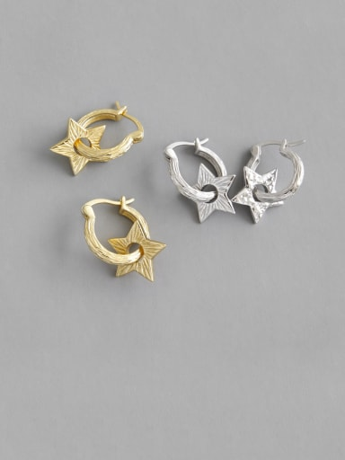 925 Sterling Silver With Gold Plated Personality Hollow Star Clip On Earrings