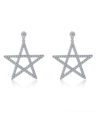Copper With Platinum Plated Fashion five-pointed star Stud Earrings