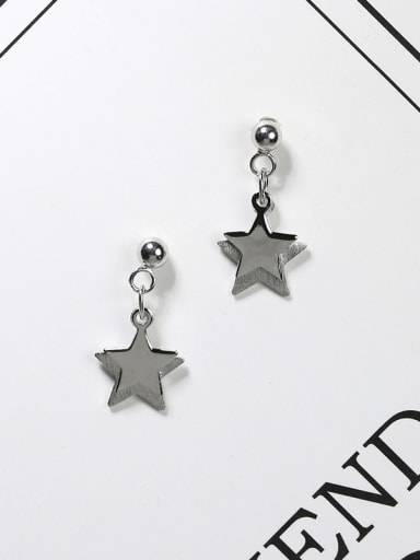 Simple 925 Silver Double Star Platinum Plated Stud Earrings