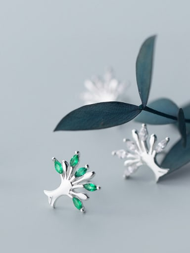 925 Sterling Silver With Silver Plated Simplistic Tree Stud Earrings