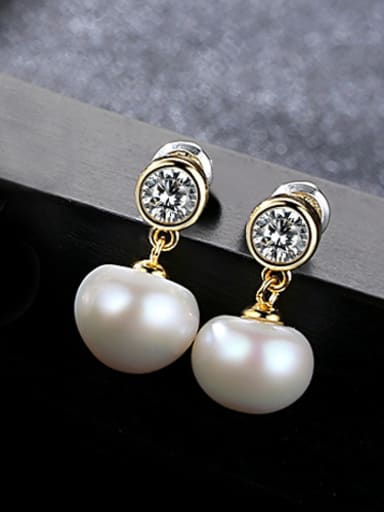 Pure Silver Natural Freshwater Pearl Stud Earrings