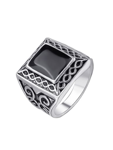 Punk style Black Enamel Silver Plated Alloy Carved Ring