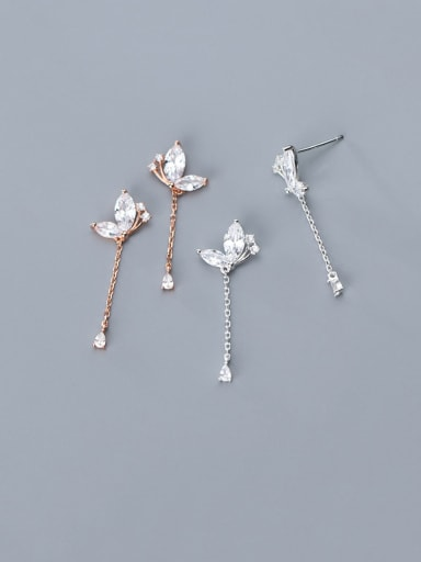 925 Sterling Silver With Cubic Zirconia Personality Water Drop Drop Earrings