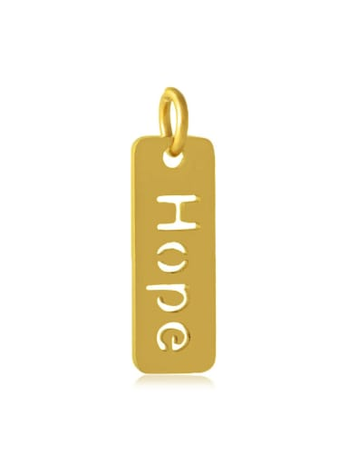 Stainless Steel With Gold Plated Classic Square With Hope Word Charms