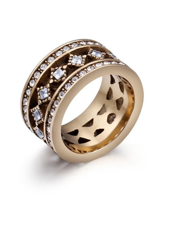 Stainless Steel With Brass Plated Cubic Zirconia Fashion Band Rings