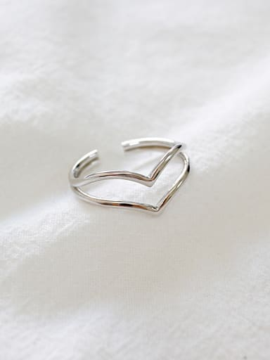 Simple Two-band V-shaped Letter Opening Silver Ring