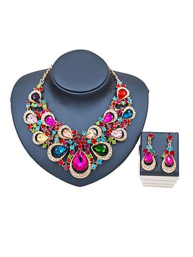 Water Drop Glass Rhinestones Statement Two Pieces Jewelry Set