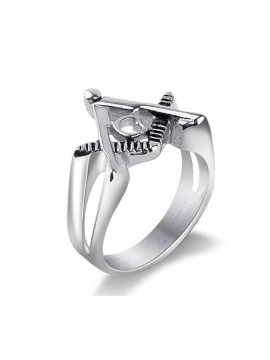 Titanium Freemason Logo Statement Ring