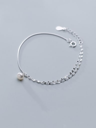 925 Sterling Silver With Platinum Plated Simplistic Round Bracelets