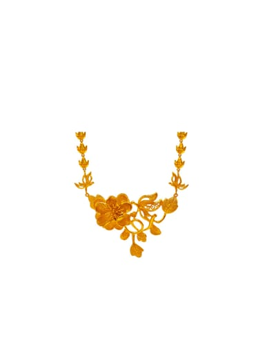 Copper Alloy 24K Gold Plated Classical Flower Necklace