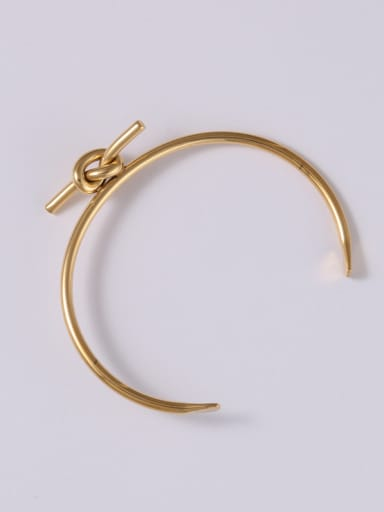 Titanium With Gold Plated Personality Tie a knot  Free Size Bangles