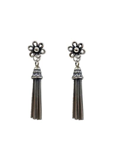 Retro style Little Tassels Flower Silver Women Stud Earrings