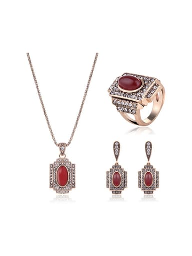 Alloy Antique Gold Plated Vintage style Artificial Stones Three Pieces Jewelry Set
