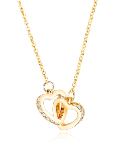 Copper With Gold Plated Fashion with two heart Necklaces