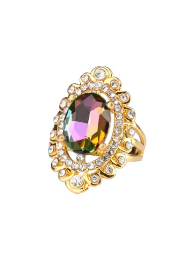 Exaggerated Noble Oval Crystal Rhinestones Alloy Ring